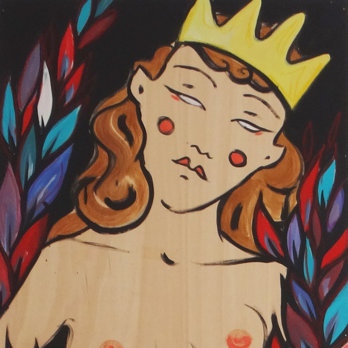 Painting Berriblue Plywood Abstract Women Queen