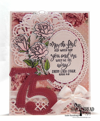 Our Daily Bread Designs Stamp/Die Duos: His Love Endures, Paper Collection:  Romantic Roses, Custom Dies: Doily, Beautiful Borders, Rectangles, Oval Stitched Rows, Ornate Ovals, Large Numbers