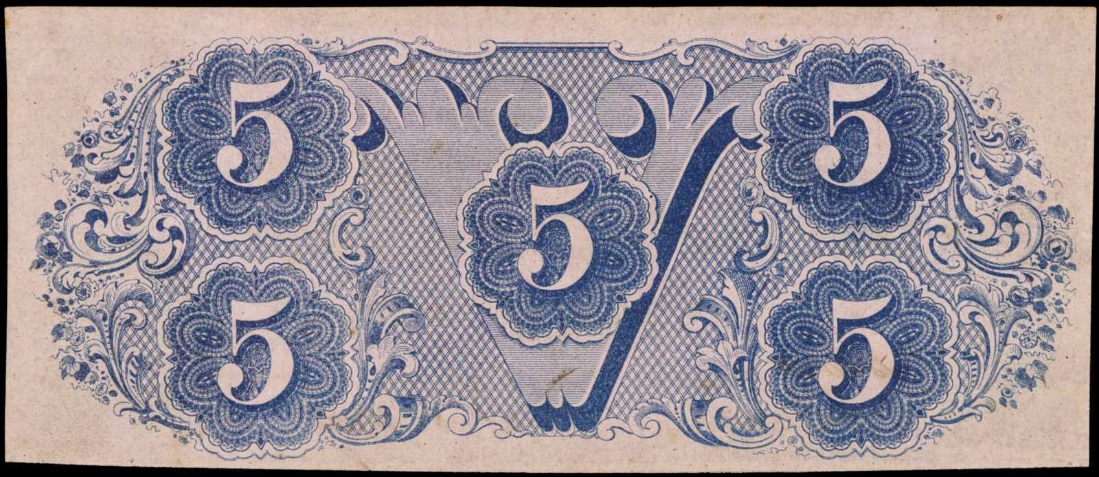 Confederate Money Currency Five Dollars 1862