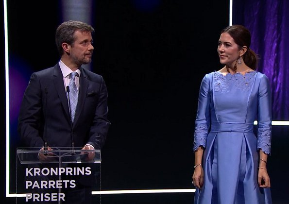 Crown Princess Mary wore Cecilie Bahnsen satin dress and RUPERT SANDERSON Pinka embellished-pebble satin pumps
