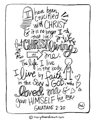 I have been crucified with Christ Galatians 2:20 printable bible verse coloring page