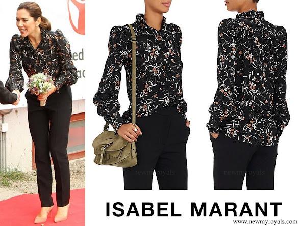 Crown Princess Mary wore Isabel Marant Sloan Leaf Print Silk Blouse