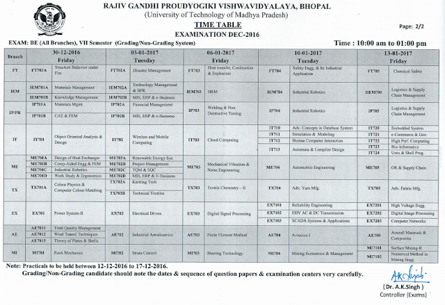 RGPV B.E 7th Semester Examination Time Table 2017