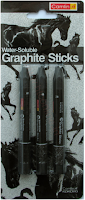 using water soluble graphite sticks by Camlin
