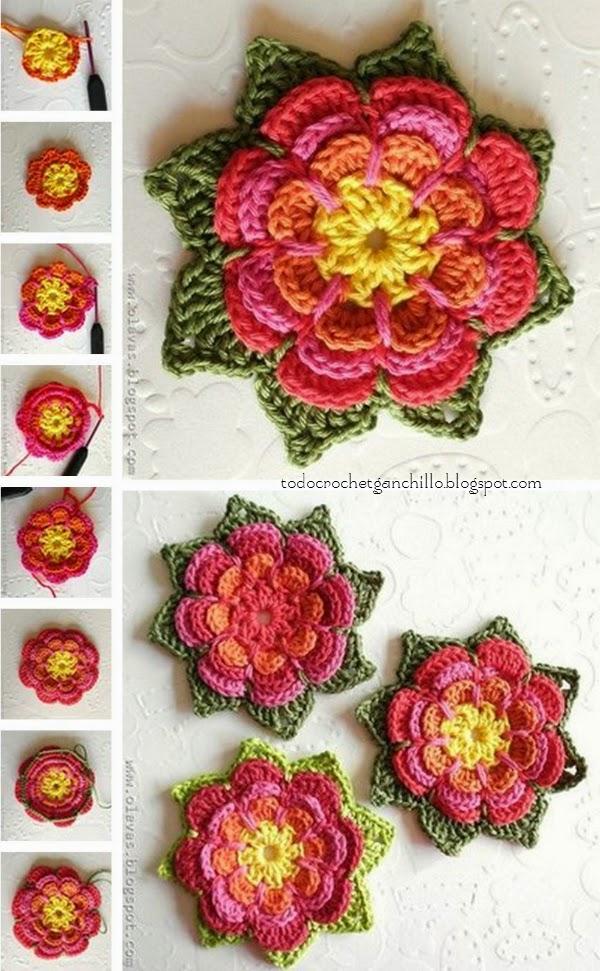 Cmo tejer al crochet una flor en capas  paso a paso