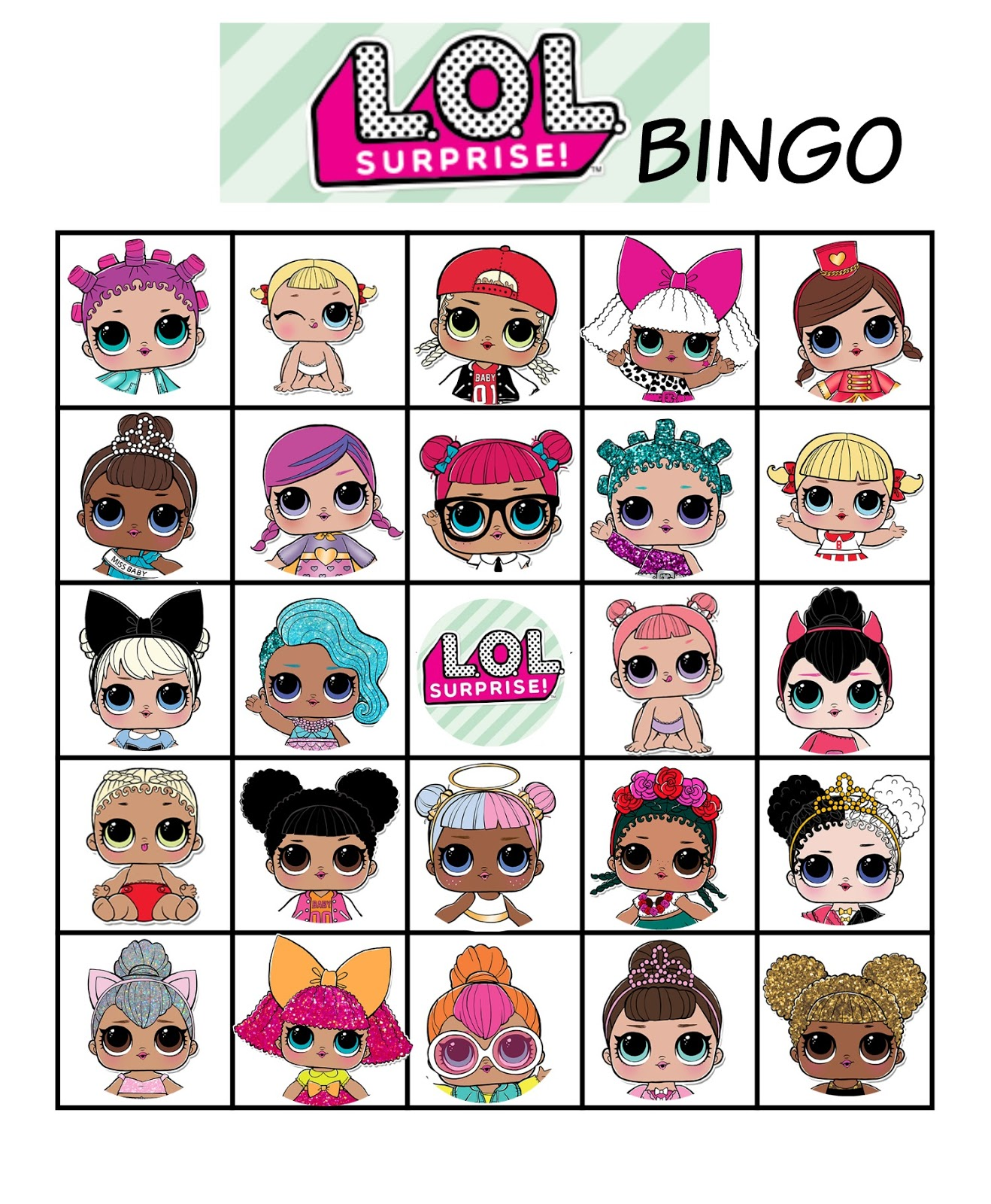 graphic regarding Lol Doll Printable identified as Musings of an Regular Mother: L.O.L. dolls Bingo