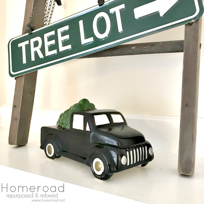 DIY Tree Lot Black Christmas tree truck. Homeroad.net