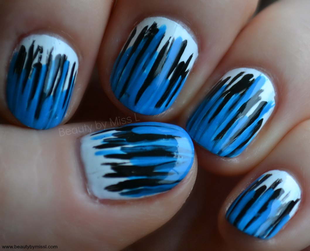 blue black white manicure