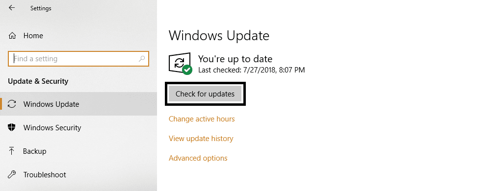 Make sure the windows have been updated