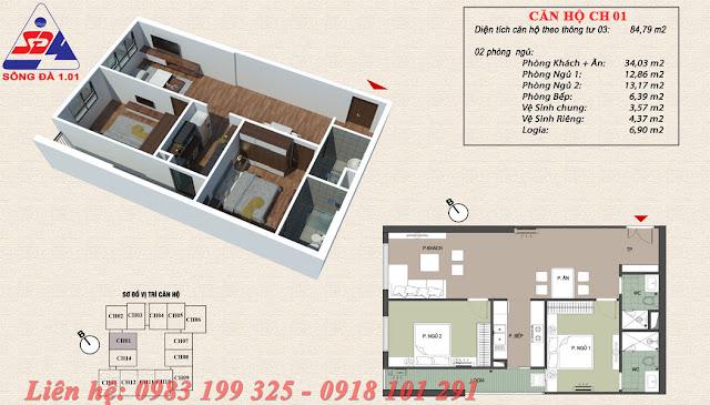 Thiết kế chung cư EcoGreen số 1 Giáp Nhị Căn 01