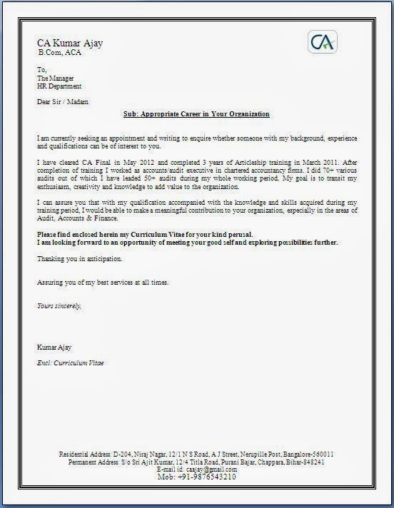 Covering Letter With Cv By Email
