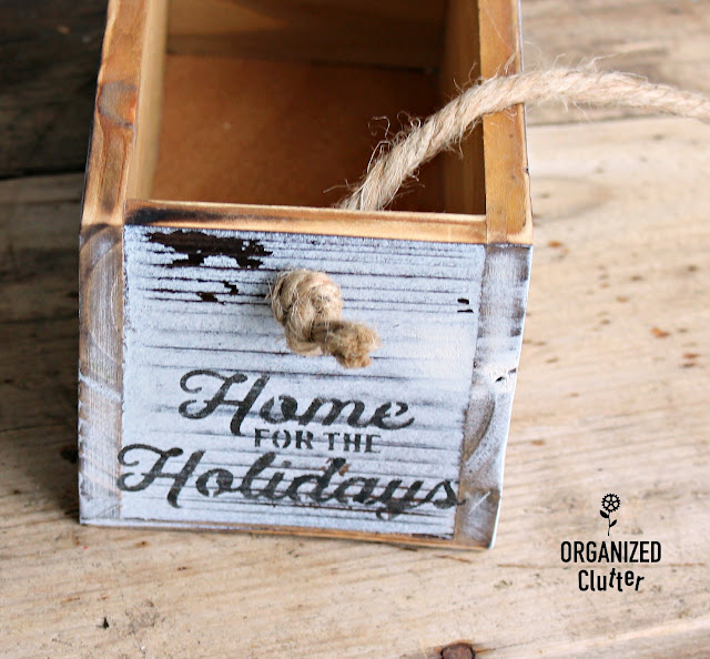 Easy DIY Stenciled Craft Shop Wood Boxes #Michaels #stencil #whitewash #cardholder #Christmasdecor #diyChristmas