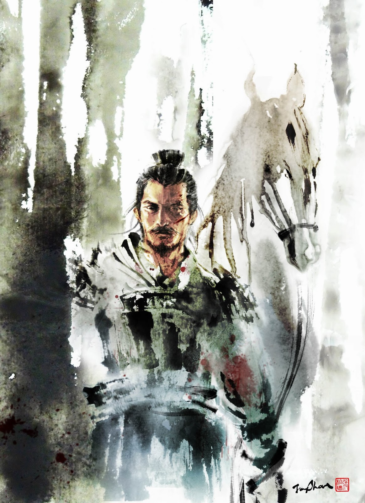 Ancient Chinese Girl Wallpaper Jungshan Ink Illustration Wuxia Magazine Cover