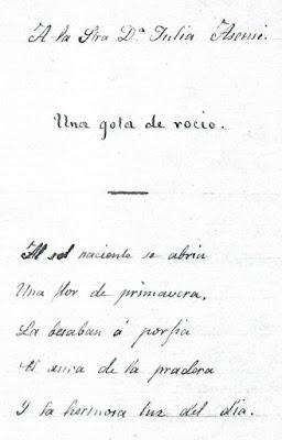 Fragmento del poema que Rosario de Acuña escribió en el álbum de Julia de Asensi