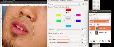 memerahakn bibir di GIMP