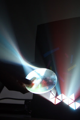 Rays re-focused through a screen and convex lens.