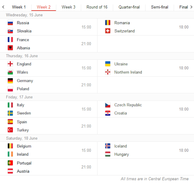 UEFA Euro 2016 Schedule, Fixtures and Time Table