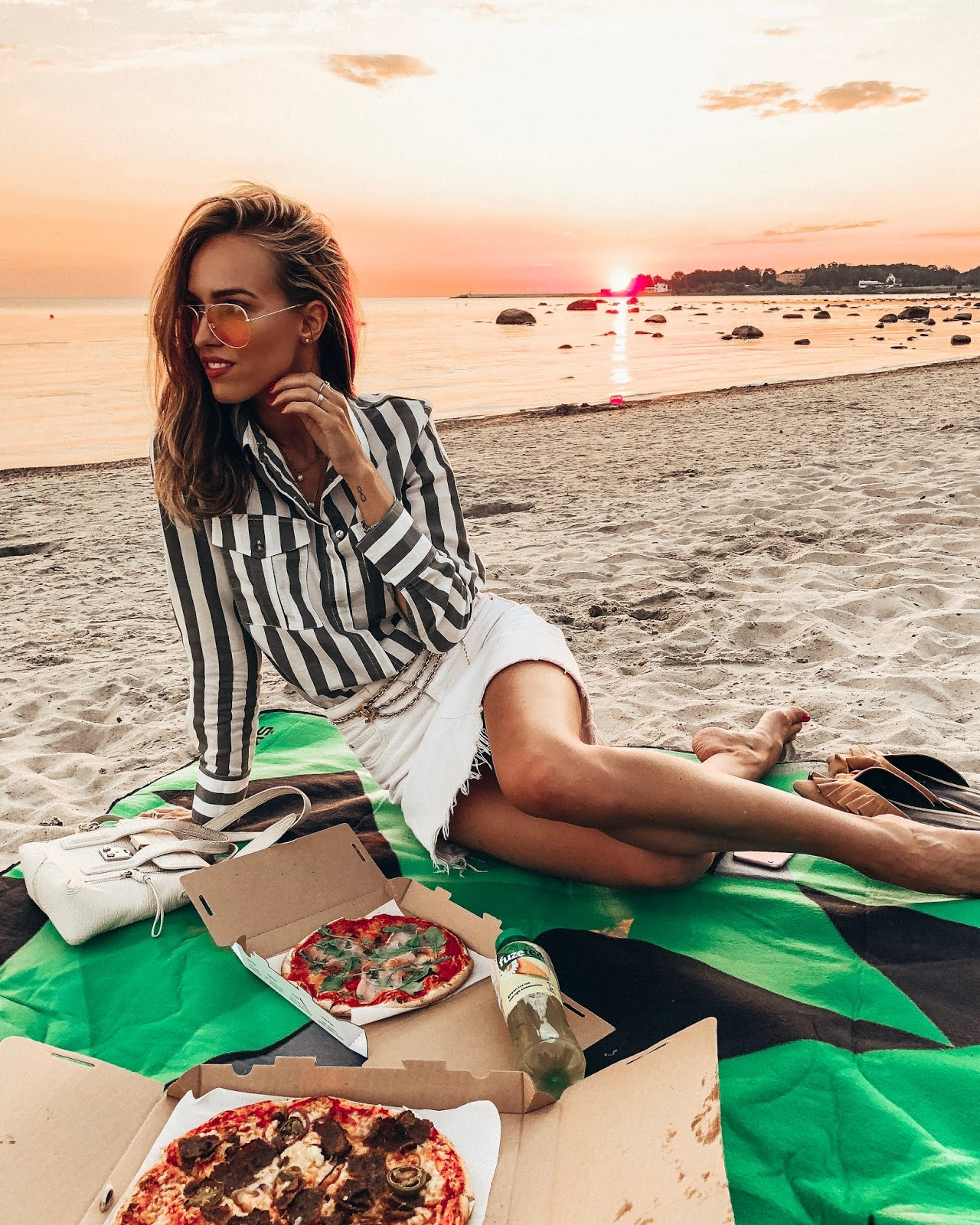 beach picnic pizza summer girl sunset