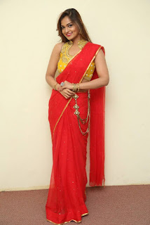 Actress Ashwini Po Shoot Stills In Red Saree With Golden Choli.jpg