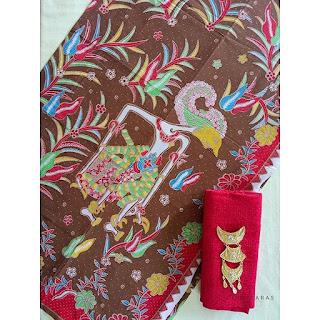 kain batik printing wayang coklat mix embos
