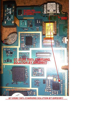 Samsung Star 2 GT-s5263 charging problem repair ways solution, its very simple, two wire jumper by red marked section.