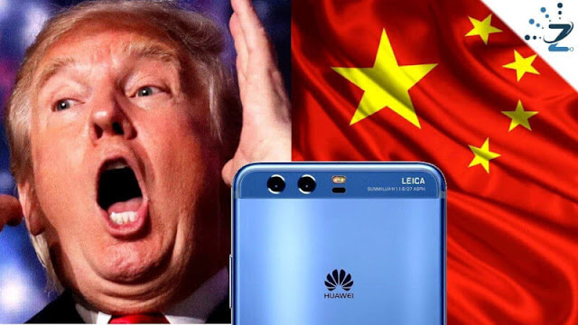 China USA and Huawei in the middle