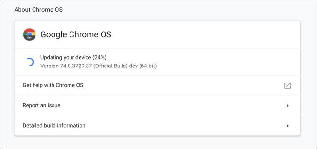 نافذة تحديث نظام التشغيل Chrome