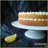Lemon Mousse Cake, made with a genoise sponge and a lemon mousse containing aquafaba making it safe for for those vulnerable to raw eggs