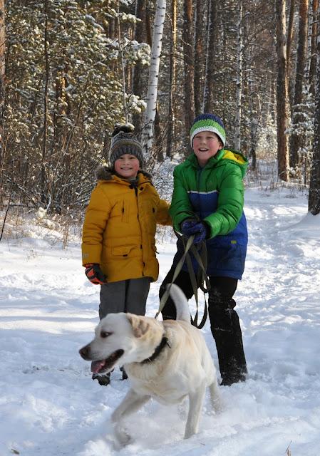 Дети и лабрадор зимой