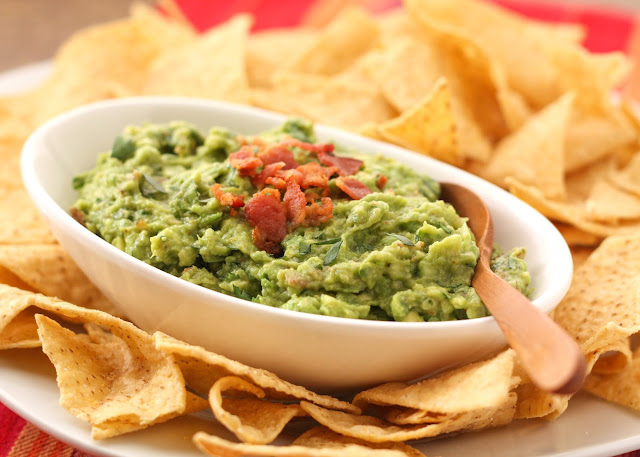 Roasted Garlic and Bacon Guacamole - get the recipe at barefeetinthekitchen.com