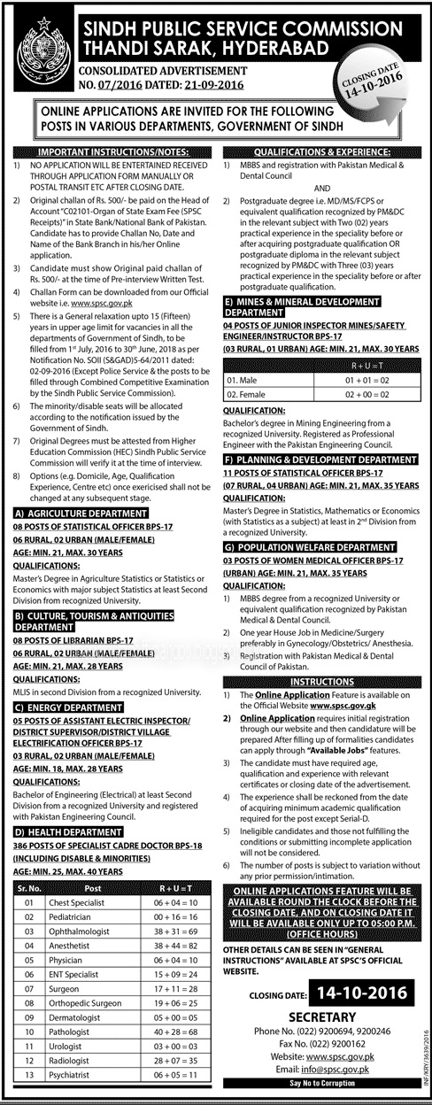 Sindh Public Service Commission Karachi Hyderabad jobs