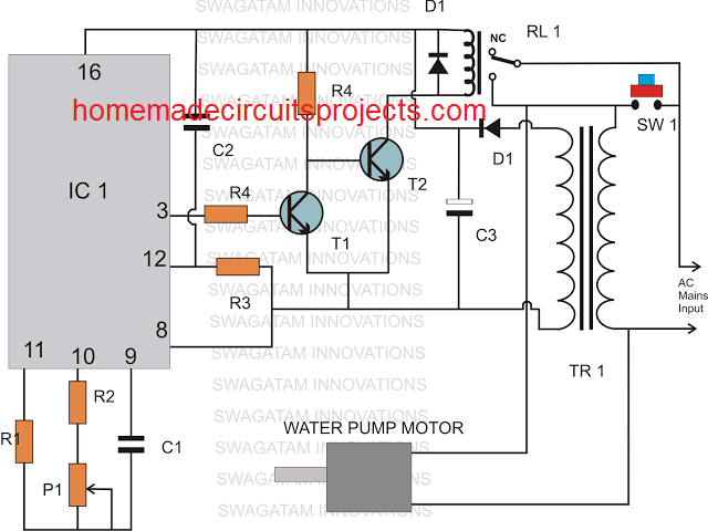 simple timer controlled water level controller circuit