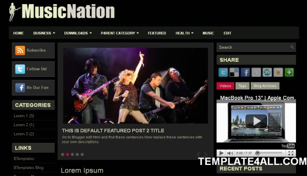 Black Gray Music Blogger Template