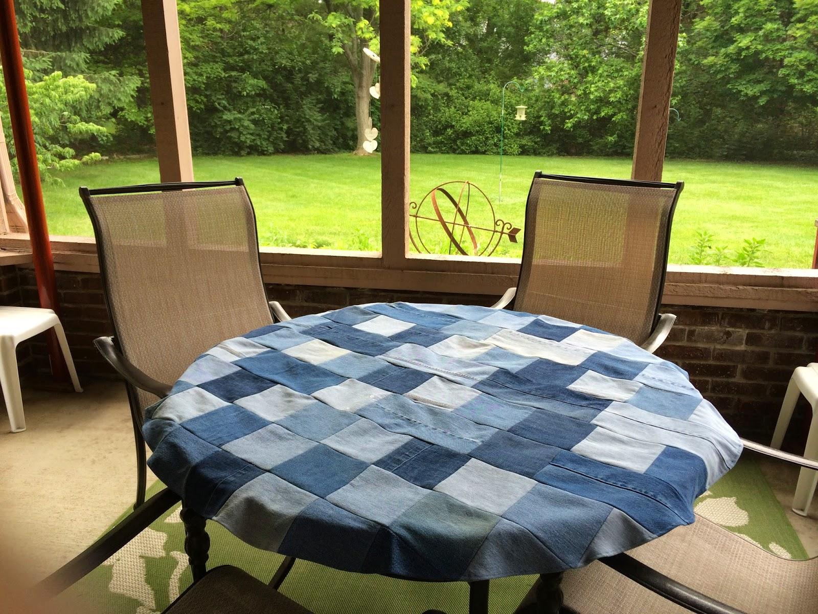A New Chapter: DIY: Denim patchwork tablecloth