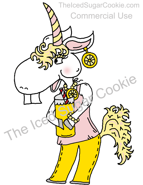 Unicorn Drinking Lemonade Wearing Lemon Earrings Clipart Illustration Drawing by The Iced Sugar Cookie Buy Now