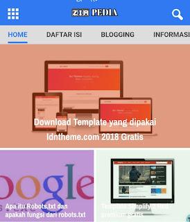 Download Template Blogger keren dan Responsive zir pedia