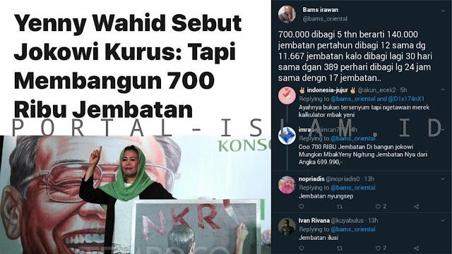 Ngakak!! Yenny Wahid: Jokowi Bangun 700.000 Jembatan, Warganet: Mau Saingin Bandung Bondowoso?