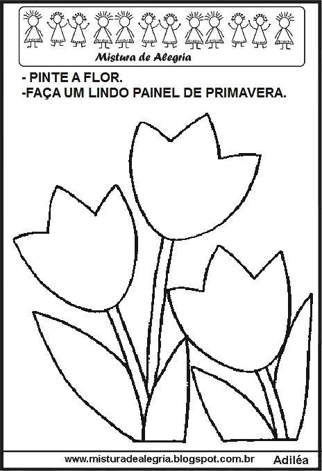 DESENHOS PARA FAZER PAINEL DE PRIMAVERA PARA IMPRIMIR E COLORIR ...