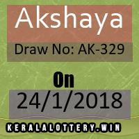 Akshaya LOTTERY NO. AK-329th DRAW held on 24/01/2018