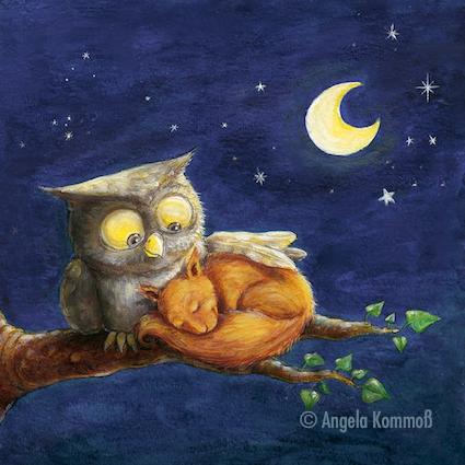 Kinderbuchillustration, Eule, Eichhörnchen, Nacht, Wiegenlieder, Schlafen, Träumen