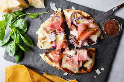 Flatbread Pizza with Stone Ground Mustard, Fig and Prosciutto