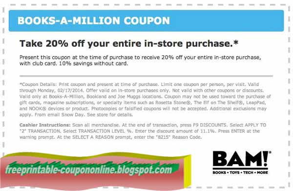 graphic regarding Books a Million Printable Coupon referred to as Guides A Million Coupon - Guides Library