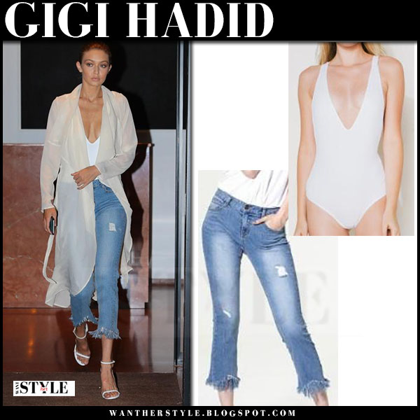Gigi Hadid in white cardigan, white flynn skye bodysuit and frayed cropped jeans storets what she wore