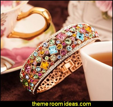 Rainbow Multicolor Austrian Crystals Cuff Bracelet Rose Gold Plated Filigree Bangle Women Vintage Statement Jewelry