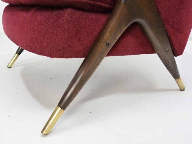 Karpen Modernist Lounge Chair Tripod Legs Brass Sabots mid century Detail