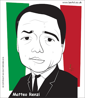Matteo Renzi caricature by Ian Davy Brown