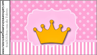 Golden Crown in Pink with Polka Dots: Free Printable  Candy Bar Labels.