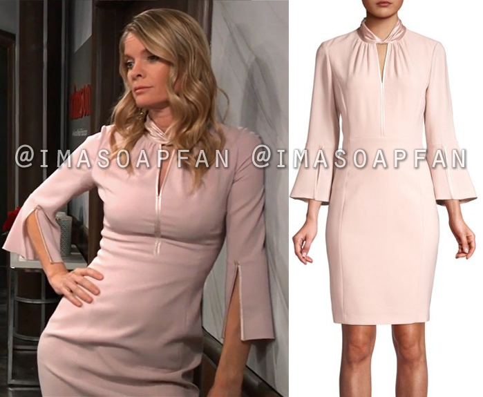 Nina Reeves, Michelle Stafford, Pink Dress with Twist Keyhole Collar, General Hospital, GH