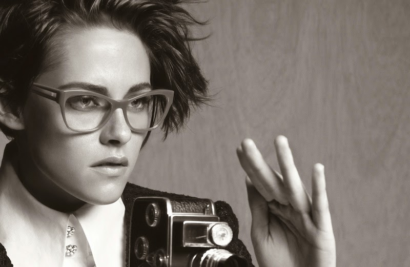 Kristen Stewart poses as a photojournalist for Chanel's Spring/Summer 2015 Eyewear Campaign