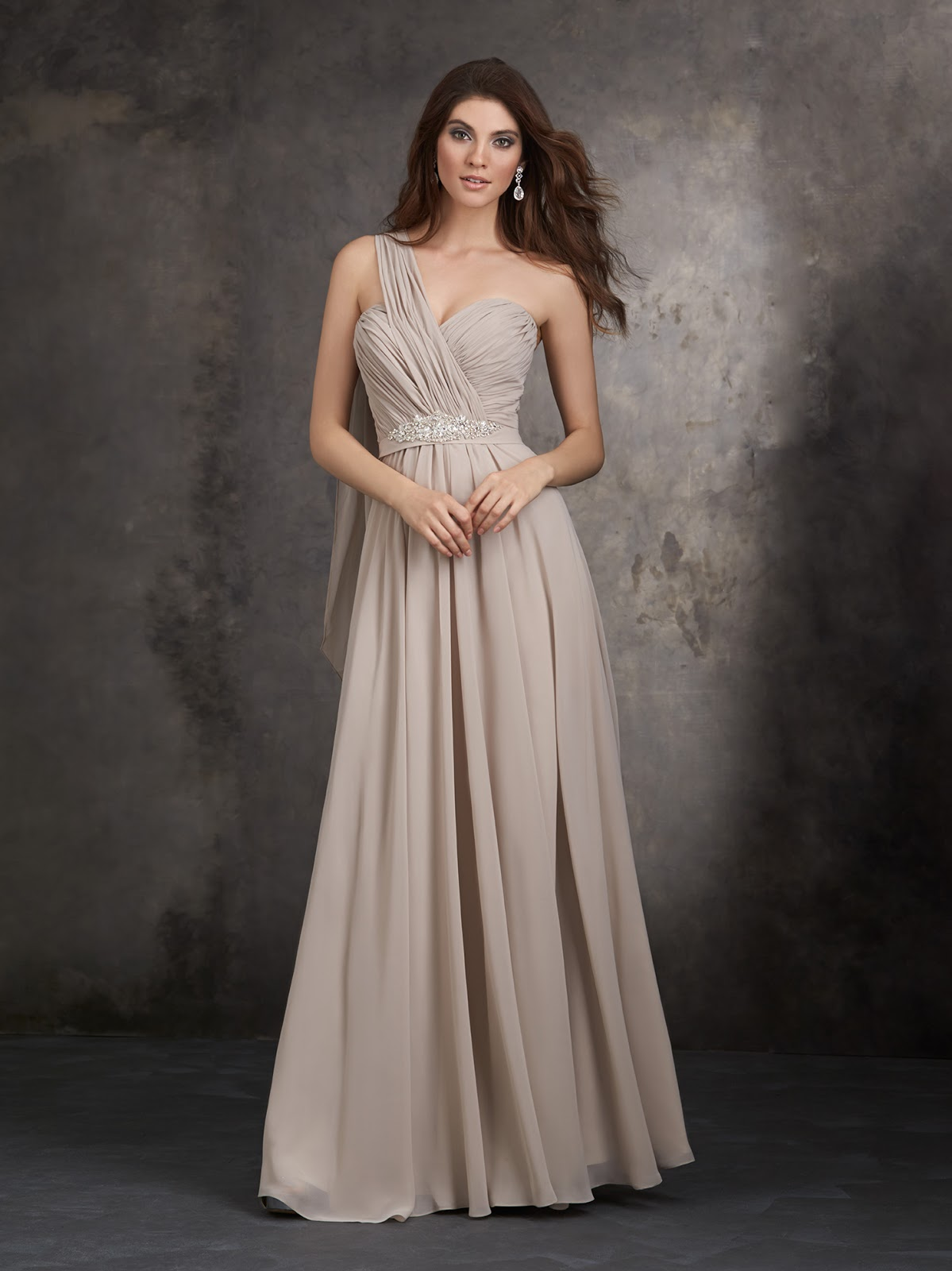 Designed Salford Elegant A-Line Floor-Length One-Shoulder Latest Bridesmaid Dresses
